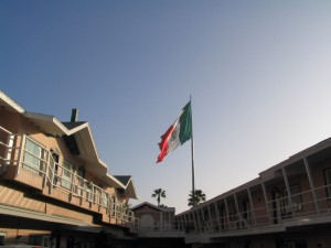 No missing this Mexican flag flying  over Ensenada - Viva Mexico!