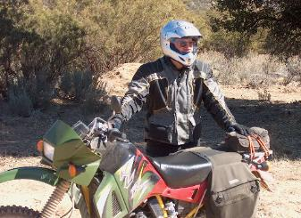 Elden and his multisurface KLR after logging 200,000 miles on KLR-650's